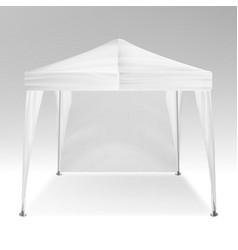 White folding tent mockup promotional vector