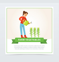 woman farmer character watering corn plants vector image