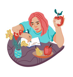 Woman student or freelancer snacking and having a vector