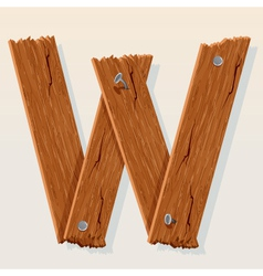 Wooden letter w vector