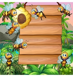 Wooden sign with bee flying in garden vector image
