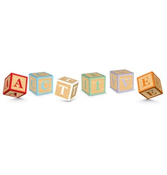 Word ACTIVE written with alphabet blocks vector