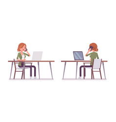 young red-haired woman sitting and working at the vector image