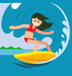 Young surfer girl on crest wave vector