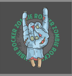 Zombie rocker hand halloween vector