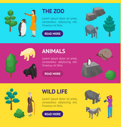 Zoo concept banner horizontal set 3d isometric vector