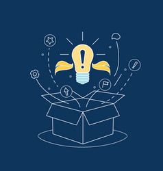 box idea with electric light bulb thin line vector image vector image