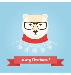 Christmas cute forest bear head logo vector image vector image