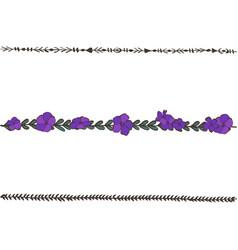doodle floral line with violets flower design vector image