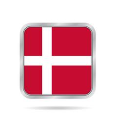 Flag of denmark shiny metallic gray square button vector