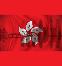 flag of hong kong with skyline vector image vector image