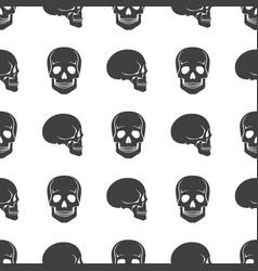 human skulls on white seamless pattern vector image