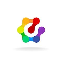 Letter E hex logo vector image