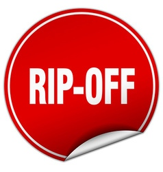 Rip-off round red sticker isolated on white vector