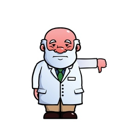 Scientist giving thumbs down vector image