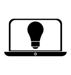 silhouette idea laptop technology vector image vector image