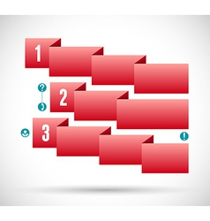 Infographic with red ribbon step chart vector image vector image