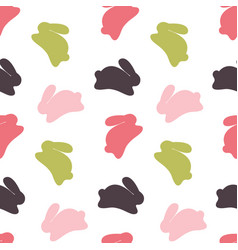 seamless bunny pattern on white background vector image