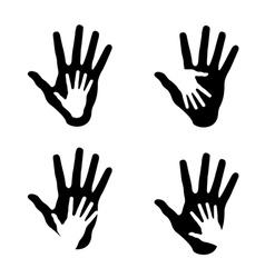 set of helping hands vector image vector image