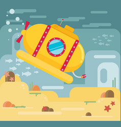 Submarine under water concept flat vector