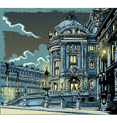Vintage Hand Drawn View of Opera in Paris vector image