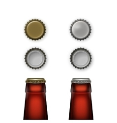 Beer Glass Bottle Necks with Caps Top Back View vector image
