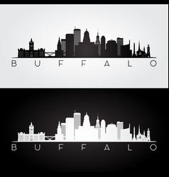 buffalo usa skyline and landmarks silhouette vector image
