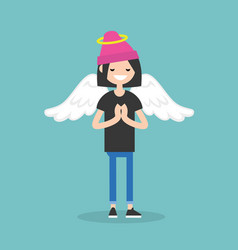 Young female character wearing angel costume vector