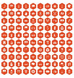 100 national flag icons hexagon orange vector