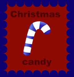 christmas candy on red background vector image vector image