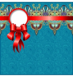 ethnic ornamental pattern with silk ribbon vector image