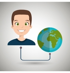 Man cartoon globe planet connected vector