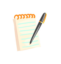 spiral notebook with pen cartoon vector image
