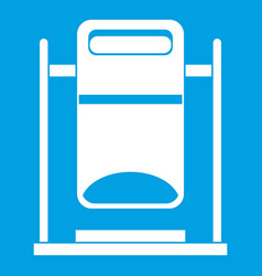 Swinging trashcan icon white vector