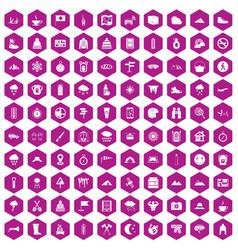 100 mountaineering icons hexagon violet vector