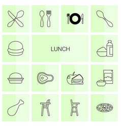 14 lunch icons vector