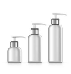3d cosmetic dispenser bottles isolated on white vector image