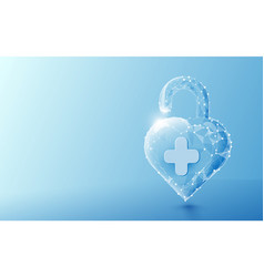 3d unlocked heart shape with healthcare concept vector