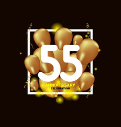 55 year anniversary white gold balloon template vector