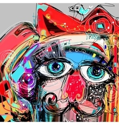 Abstract digital artwork painting portrait of cat vector