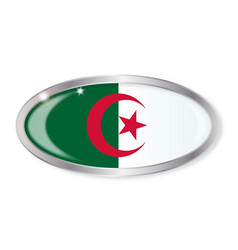 Algerian flag oval button vector