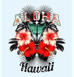aloha hawaii pink hibiscus and black leaves mirror vector image