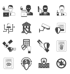 Bank security black icons set vector
