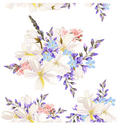 beautiful floral pattern with field flowers vector image
