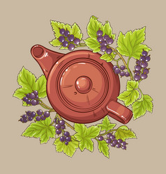 black currant tea in teapot vector image