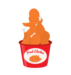 Bucket of fried chicken tasty fast food vector