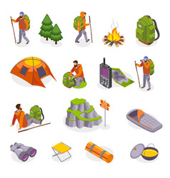 campers gear icon set vector image