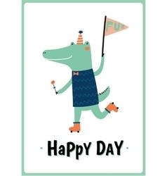 Card with funny Crocodile boy vector