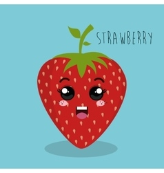Cartoon strawberry fruit facial expression design vector