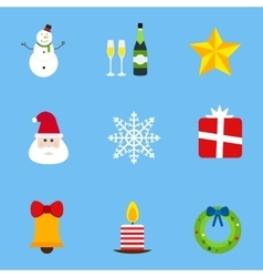 Christmas holiday icons set vector